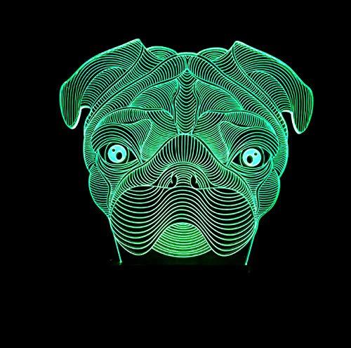 Luce Notturna 3D Illusione Ottica Led Lampada Cane Interruttore Tattile Cambio 7 Colori Lampada Da Letto Per Camera Da Letto Per Bambini, Regali Per Feste Di Compleanno Per Bambini