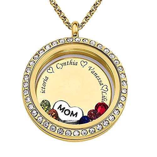Runde Form Custom Personalisierte Anhänger Halskette bis zu gravierten 5 Namen und Birthstone für Mama Oma - Mama Schmuck Für Geburtsstein