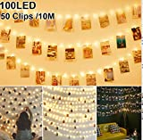 Nakeey 10M 100 LED Fotoclips Lichterkette für Zimmer Deko, Lichterketten für Zimmer Dekoration - LED Fotoclips Lichterkette mit Klammern für Fotos Wasserdicht Modi Foto Lichterkette Bilderrahmen