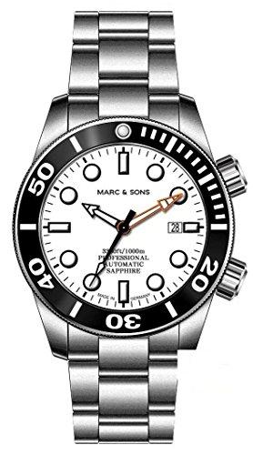 Marc & Sons 1000m reloj de buceo automático azul, cristal de zafiro, Helium Válvula, bisel de cerámica, Diver