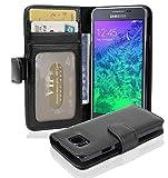 Cadorabo Hülle für Samsung Galaxy Alpha - Hülle in Oxid SCHWARZ – Handyhülle mit 3 Kartenfächern - Case Cover Schutzhülle Etui Tasche Book Klapp Style