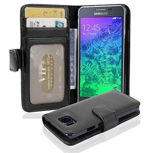 Preisvergleich Produktbild Cadorabo Hülle für Samsung Galaxy Alpha - Hülle in Oxid SCHWARZ – Handyhülle mit 3 Kartenfächern - Case Cover Schutzhülle Etui Tasche Book Klapp Style