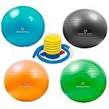 Gymnastikball »Pluto« inklusive Fusspumpe zum aufblasen/Robuster Sitzball und Fitnessball von 55 cm bis 85 cm/Verschiedene Größen und Farben (pink blau rot türkis grün schwarz)