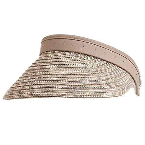 GOLFINO Straw visor with elegant rhinestone trim Beige OS