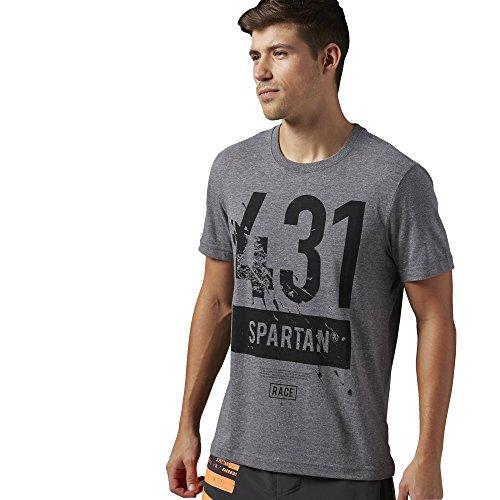 Reebok t-shirt da uomo a maniche corte Spartan Race Tri blend, Coal, XS, AJ0621