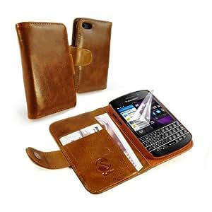 """Tuff-Luv Personalisierte Klassischer """"Vintage"""" Leder Brieftaschen-style Case (einschließlich Bildschirmschutz) für BlackBerry Q10 - braun"""
