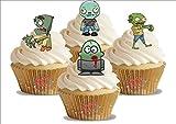 HALLOWEEN grüne Zombie Mix 12 essbare Standup Kuchen-Deko, Kuchendekorationen, essbar, Premium, 2 x A5, für 12 Bilder