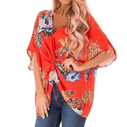 AmyGline T Shirt Damen Oberteile Mode Blumen Druck Shirts Kurzarm V-Ausschnitt Twist Tops Bluse...
