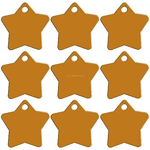 Rosba (TM) 20 pc / lotto variopinto di figura Double Sided personalizzati su misura inciso Pet Dog Cat Nome Numero di telefono ID Tag Charm Stella 9 colori