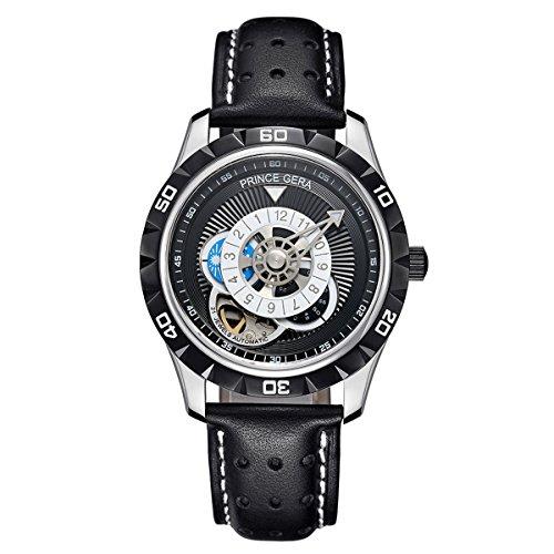 PRINCE GERA Herren Automatikuhr einzigartiges Zifferblatt mit leuchtenden Händen Wasserdichte Uhren für Männer