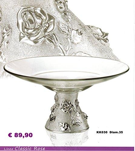 CENTRE DE TABLE DE BASE ET KIKKE CRISTAL ROSE SATINÉ D 35 LAMINÉ MADE IN ITALY ARGENT