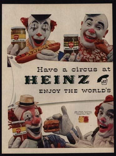 Laptopo 1956 7 Circus Clowns - 2 Page Heinz Pickles & Relish Vintage AD Vintage-relish
