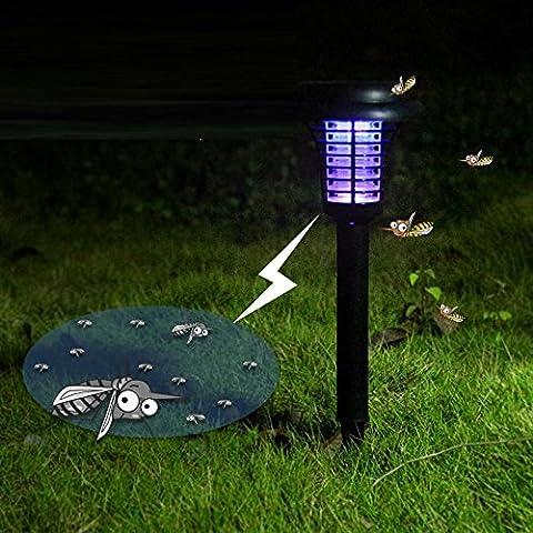 HomJo Lampe Solaire Jardin Lampe à moustique solaire moulée Insertion de plaques de lampe extérieure en plein air mosquito pelouse violet lampe intérieure et extérieure