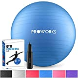 Proworks Gymnastikball 75cm Heavy Duty Sitzball für Sport Physiotherapie Schwangerschaft Yoga Pilates - Fitness Ball für Rückenübungen und Dehnübungen inkl. Pumpe - Dunkelblau