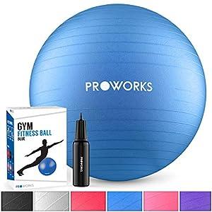 Proworks Gymnastikball [55cm – 85cm] Heavy Duty Sitzball für Sport Physiotherapie Schwangerschaft Yoga Pilates – Fitness Ball für Rückenübungen und Dehnübungen – In 6 inkl. Pumpe