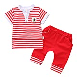 LEXUPE Kleinkind scherzt Baby-gestreiftes T-Shirt Oberseiten-kurzärmlige Hosen 2PCS Kleidungs-Satz(Rot,S)
