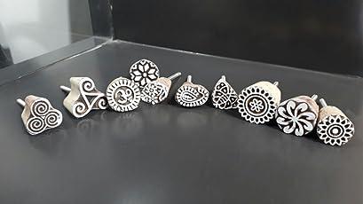Collectible India Set Of 10 Assorted Cupboard Wooden Handblocked Door Knobs - Cabinet Drawer Dresser Pulls Knobs Wardrobe Handles