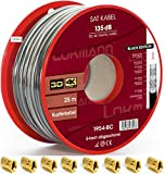 LOKMANN Câble coaxial à quintuple blindage, noir, 25m, cuivre pur, 135dB - Câble d'antenne TV satellite Full HD, UHD, 4K, 8K et plus récent - 10fiches F