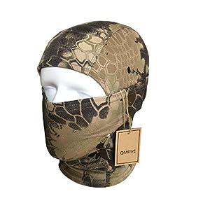 Ninja Hoodie Camouflage Cagoule, QMFIVE Tactique Airsoft Extérieur Chasse Souple Complet Visage de Protection Masque