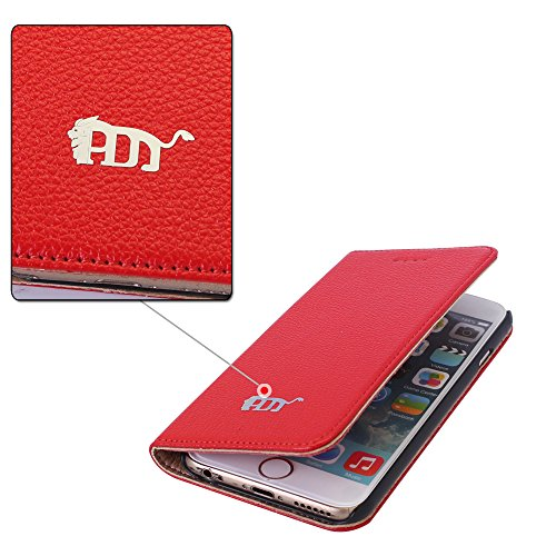 Pdncase iPhone 6 Genuine Leder Tasche Case Hülle Wallet Carrying Cover Schutzhülle für iPhone 6 Farbe Rot Rot