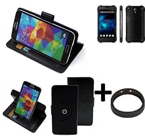 TOP SET: 360° Schutz Hülle Smartphone Tasche für Blackview BV5000, schwarz + TPU Bumper| Wallet case Flipcase Flipstyle Cover Tasche - K-S-Trade (TM)