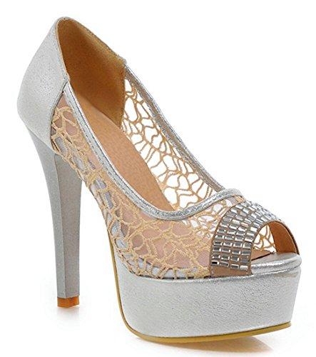 YE Damen Elegant Peep Toe High Heels Plateau Cut Out Glitzer Pumps mit Strass 12cm Absatz Schuhe Silber