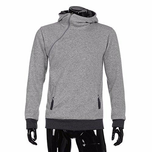 (Modaworld Herren Herbst Winter Langarm Zipper Hooded Tops BluseKapuzenpullover Hoodie Pullover Mit Kapuze Cross-Over-Kragen Und Fleece-Innenseite Sweatshirt Basic Sweater)