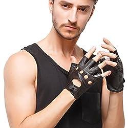 """Nappaglo los hombres de cuero guantes de conducir italiano medio dedo guantes fingerless sin forro de piel de cordero para la motocicleta Ciclismo Equitacion (S (Palm circunferencia: 8.1 """"), Brown)"""