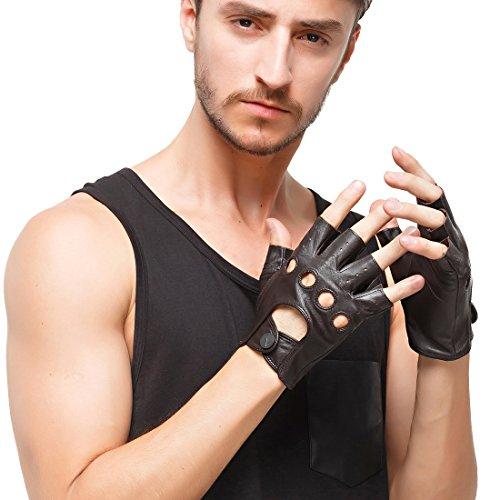 Nappaglo Herren Lederhandschuhe für fahren italienisches Lammfell Halbfinger Fingerlose Ungefüttert Motorrad Radfahren Handschuhe (L (Umfang der Handfläche:21.6-22.8cm), Braun)