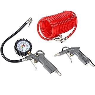 Air Compressor Tools Accessories Kit - Blow Gun, Pressure Gauge, Spiral Hose/Tube 115PSI - Tyre Inflator …