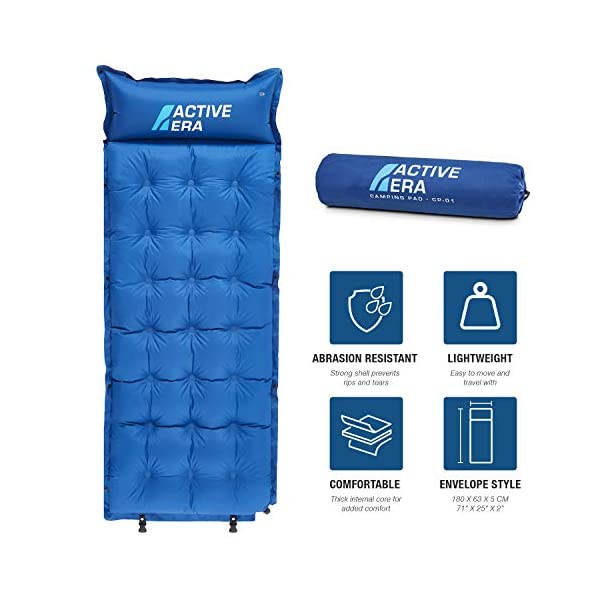 Active Era Self-Inflating Camping Pad with Pillow and Air Pockets | Lightweight and Comfortable Foam Sleeping Pad 2