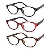 QDOS Vintage Reading Glasses_ 3 Pack Spring Hinge_ Crystal Clear Vision Whenever & Wherever You Need It! _Matte Finish for a Smooth Feel and Classy Design (2.0)