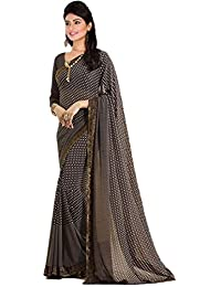 0090cd3bca93c Vishnu Creations Georgette Saree With Blouse Piece (A16 Brown Brown Free  Size)