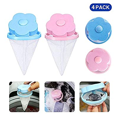 Washing Machine Floating Lint Mesh Bag 4 Pack Lint Filters Hair Remover Reusable Hair Catcher Filter Net Pouch Flower-Type Lint Traps for Laundry Blue & Pink