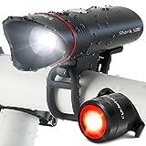 Éclairage Vélo Shark 500 de Cycle Torch, Lampe Pour Velo Rechargeable USB Ultra Lumineux de 500 lumens, Eclairage Arrière Inclus, Convient à Tous les Vélos, Imperméable (Noir Set)
