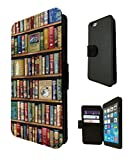 "iphone 6 Plus 5.5 ""Vintage Library Books Look Design Fashion Trend Shelves Book Style Leather Purse Wallet Card Holder Case pouch Flip Cover Defender Shockproof Creidt Case"