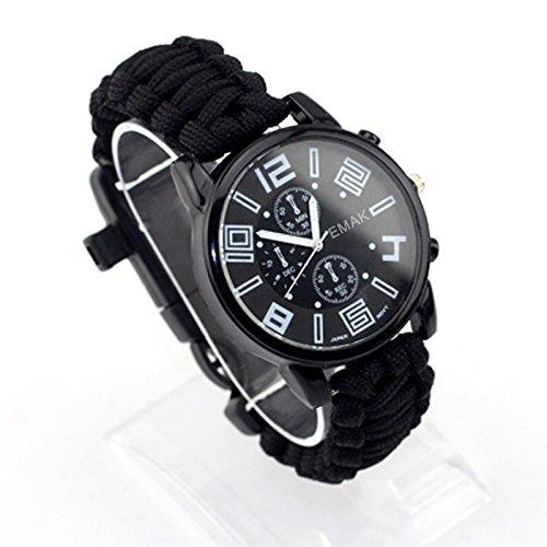 wooboo Paracord Outdoor Uhr mit Survival Kompass Whistle Fire Starter Armband Armband, schwarz (Telefon Verizon Wasserdicht)