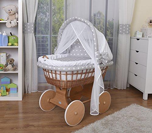 WALDIN Baby Stubenwagen-Set mit Ausstattung, XXL, Bollerwagen,komplett, 14 Farben wählbar,weiß/Sterne-weiß