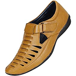 Emosis Men Stylish Tan Brown Black Colour Outdoor Formal Casual Ethnic Loafer Slip-On Sandal Shoe