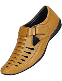 Urbanwhiz Men's Tan Brown Black Colour Outdoor Formal Casual Ethnic Loafer Slip-On Sandal Shoe