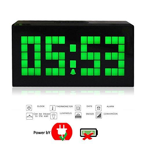 T Tocas 16,5 centimetri Digital Jumbo grande numero LED Snooze parete Desk ore / minuti Orologi da tavolo w / orologio, calendario, termometro interno