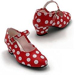 FLAMENKITAS Calzado de Danza Para Mujer - Zapatos Flamenca Correa - Hecho EN España - Color - Rojo Lunares Blancos, Talla - 41