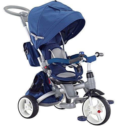 Mondial Toys Triciclo Passeggino con Sedile Girevole 6 in 1 Modi New Blu