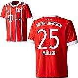 Adidas FC Bayern München FCB Home Trikot 2017 2018 mit Spieler Name rot Farbe Müller, Größe 176
