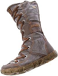 Leder Stiefel TMA Damen Winter Schuhe gefüttert Schwarz Weiß Grün Gelb Rot Braun Blau im used look