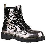 Coole Worker Boots Kinder Outdoor Stiefeletten Profil Sohle Schuhe 150315 Grau Metallic Glänzend 37 Flandell