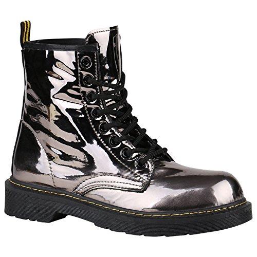Party Das Kostüm Glänzende - Coole Worker Boots Kinder Outdoor Stiefeletten Profilsohle Schuhe 150315 Grau Metallic Glänzend 36 Flandell