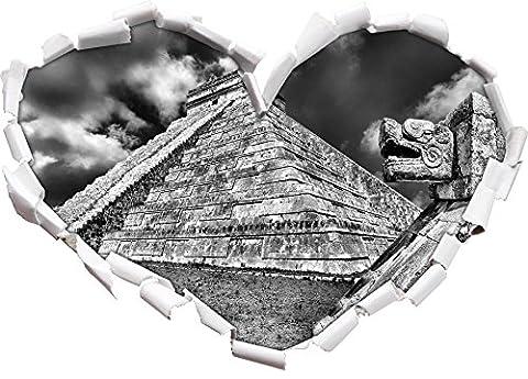 Monocrome, Schöner Maya Tempel in Mexiko Herz im 3D-Look, Wand-