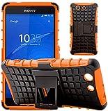 G-Shield Hülle für Sony Xperia Z3 Compact Stoßfest Schutzhülle mit Ständer - Orange