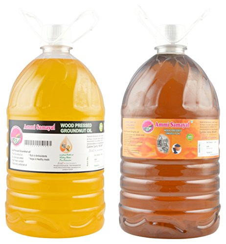 Ammi Samayal Wood Pressed(cold press) Edible Groundnut Oil and Wood Pressed Edible Sesame Oil, 10 L (Combo of 2)